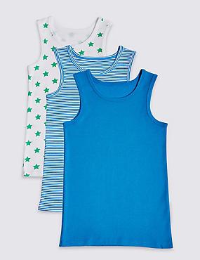 Pure Cotton Vests (18 Months - 8 Years), BRIGHT BLUE, catlanding