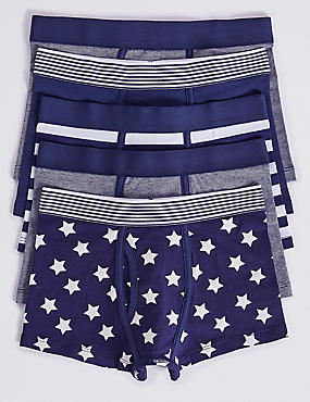 5 Pack Cotton Trunks with Stretch (2-16 Years), LIGHT NAVY, catlanding