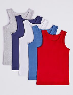 Pure Cotton Vests (18 Months - 16 Years), BLUE, catlanding
