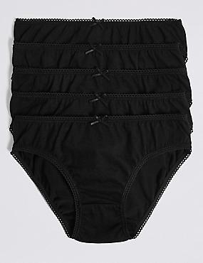 5 Pack Pure Cotton Bikini Knickers (6-16 Years), BLACK, catlanding