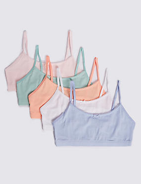 5 Pack Cropped Tops with Lycra (6-6 Years), PINK MIX, catlanding