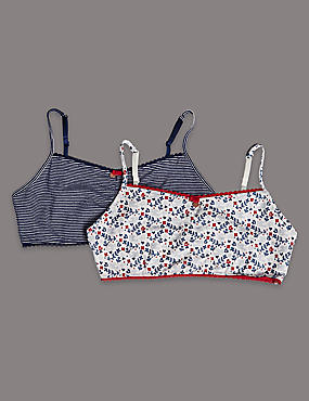 2 Pack Cotton Rich Spotted Crop Tops (9-16 Years)
