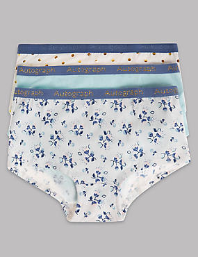 3 Pack Cotton Rich Spot All Over Print Shorts