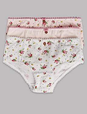 3 Pack Cotton Rich Floral Print Knickers (6-16 Years)