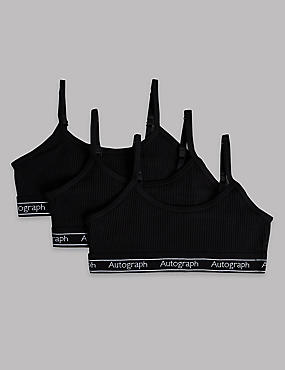 3 Pack Cropped Tops with Lycra (6-16 Years), BLACK MIX, catlanding