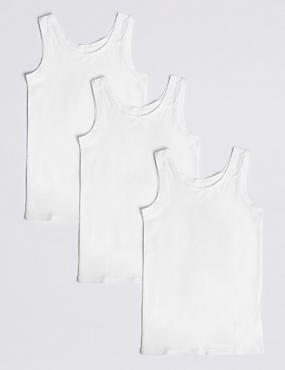 3 Pack Cotton Vests with Stretch (18 Months - 16 Years), WHITE, catlanding