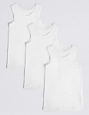 3 Pack Cotton Flexifit™ Vests (18 Months - 16 Years), WHITE, catlanding