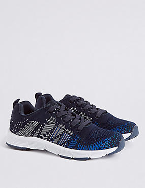 Kids' Knitted Sports Trainers, NAVY MIX, catlanding