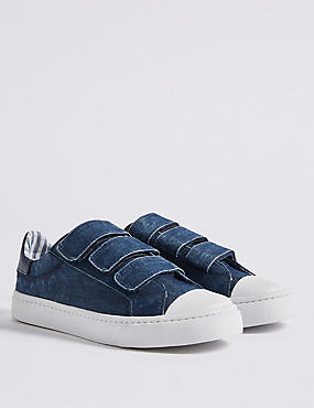 Kids' Denim Riptape Fashion Trainers (13 Small - 7 Large), DENIM, catlanding