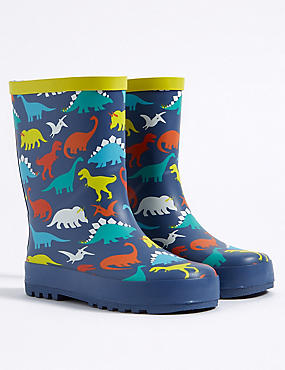 Kids' Dinosaur Print Wellies , NAVY MIX, catlanding