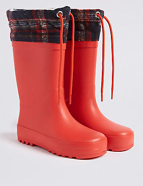 Kids' Checked Wellies (5 Small - 12 Small), RED, catlanding