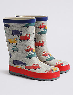 Kids' Transport Wellies (5 Small - 12 Small), GREY MIX, catlanding
