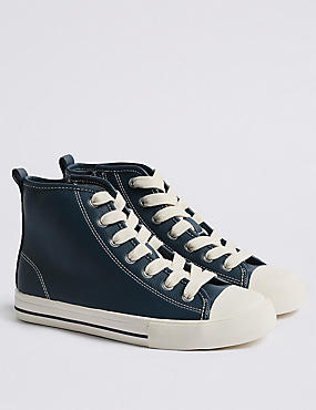 Kids' High Top Trainers (13 Small - 7 Large), NAVY, catlanding