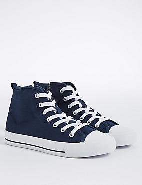 Kids' Lace-up Fashion Trainers, NAVY, catlanding