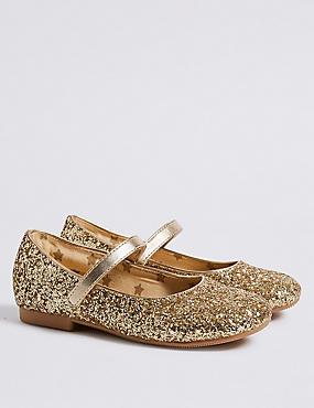 Kids' Glitter Ballerina Shoes (5 Small - 12 Small), GOLD, catlanding