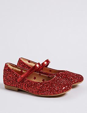 Kids' Glitter Ballerina Shoes (5 Small - 12 Small), RED, catlanding