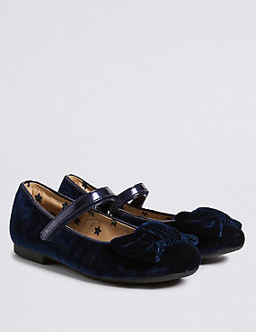Kids' Leather Ballerina Shoes (5 Small - 12 Small), NAVY, catlanding
