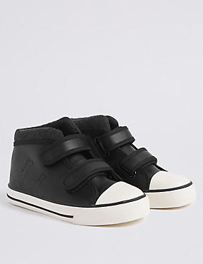 Kids' High Top Trainers (5 Small - 12 Small), BLACK, catlanding