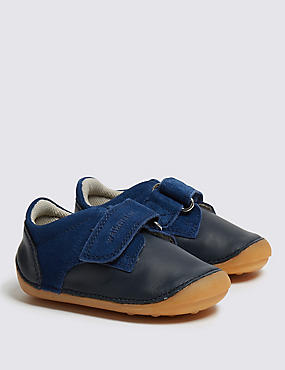 Kids' Leather Pre Walker Shoes (2 Small - 5 Small), NAVY, catlanding