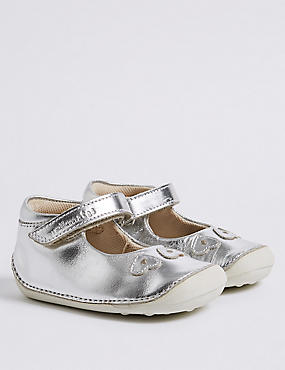 Kids' Leather Shoes (2 Small - 5 Small), SILVER, catlanding