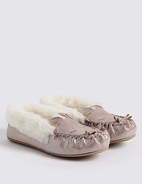 Kids' Suede Moccasin Slippers (5 Small - 12 Small), PINK, catlanding