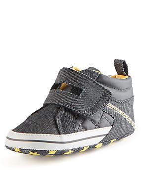 Kids' Denim High Top Trainers Pram Shoes