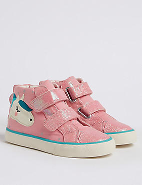 Kids' High Top Trainers (5 Small - 12 Small), PINK MIX, catlanding