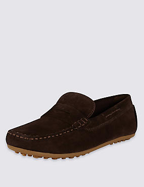 Kids' Suede Driving Slip-On Shoes with Stain Resistance