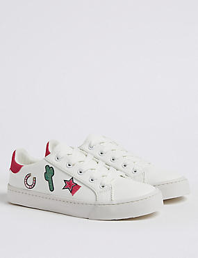 Kids' Embroidered Fashion Trainers (13 Small - 6 Large), WHITE MIX, catlanding