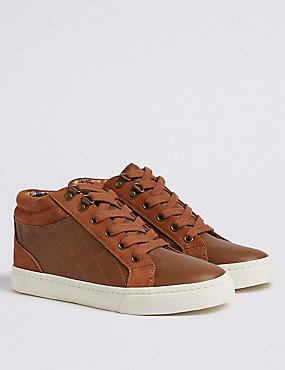 Kids' High Top Trainers (13 Small - 7 Large), TAN, catlanding