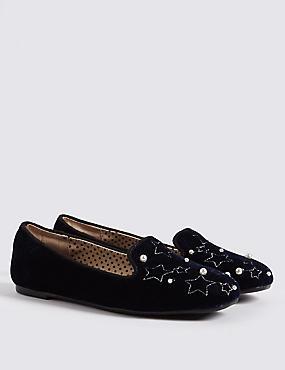 Kid's Velvet Shoes (13 Small – 6 Large), NAVY, catlanding