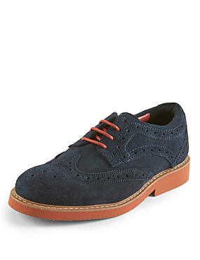 Kids' Stain Resistance™ Suede Lace Up Brogue Shoes