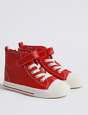 Kids' High Top Trainers (5 Small - 12 Small), RED, catlanding