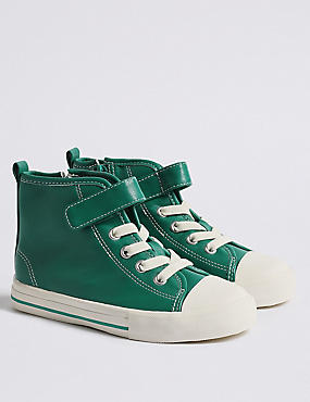 Kids' High Top Trainers (5 Small - 12 Small), GREEN, catlanding