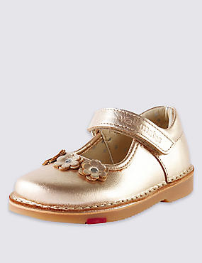 Kids' Walkmates Leather Floral Appliqué Cross Bar Shoes