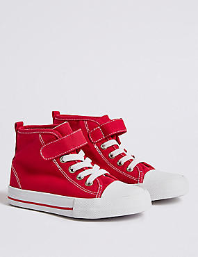 Kids' Riptape High Top Trainers, RED, catlanding