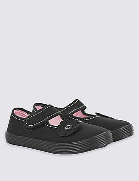 Kids' Riptape Plimsolls (7 Small - 4 Large), BLACK, catlanding