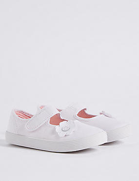 Kids' Riptape Plimsolls (7 Small - 4 Large), WHITE, catlanding