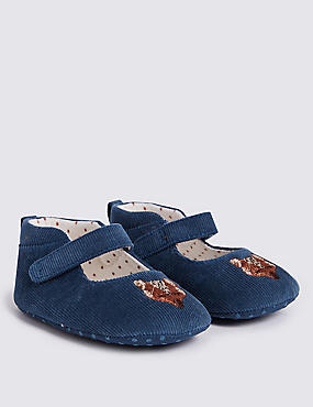 Baby Fox Pram Shoes, Teal, catlanding