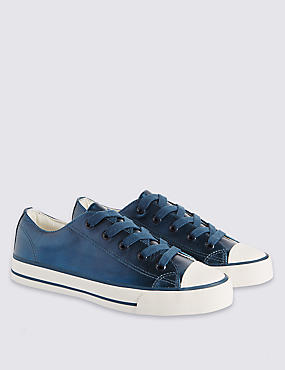Kids' Coated Leather Lace-up Low Top Trainers