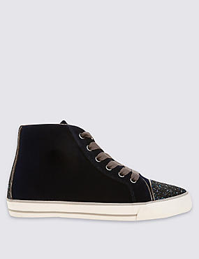 Kids' High Top Velvet Trainers