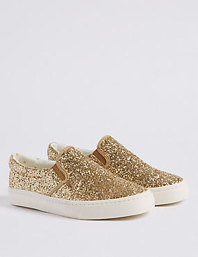 Kids' Glitter Fashion Trainers (13 Small - 6 Large), GOLD MIX, catlanding