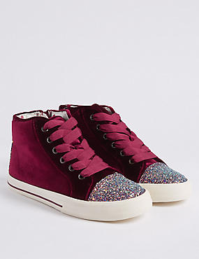 Kids' High Top Trainers (13 Small - 6 Large), BERRY, catlanding
