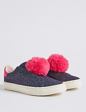 Kids' Pom-pom Glitter Fashion Trainers