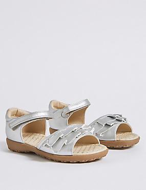 Kids' Frill Sandals (5 Small - 12 Small), SILVER MIX, catlanding