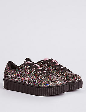 Kids' Lace-up Glitter Chunky Trainers
