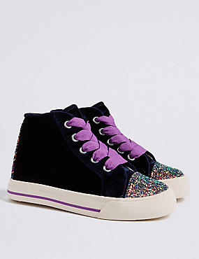 Kids' Velvet Hi Top Fashion Trainers