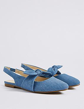 Kids' Slingback Bow Shoes (13 Small - 6 Large), DENIM MIX, catlanding