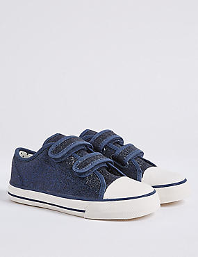 Kids' Trainers with Freshfeet™ (5 Small - 12 Small), NAVY MIX, catlanding
