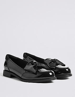 Kids' Leather Loafers (13 Small - 1 Large), BLACK, catlanding